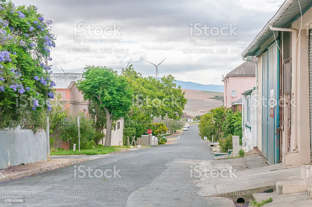 Street scene with wind turbines at Caledon stock photo