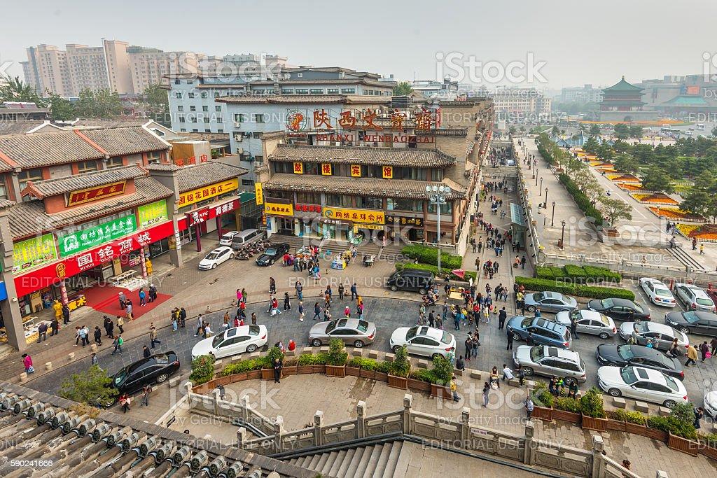 Street scene Xi'an China stock photo