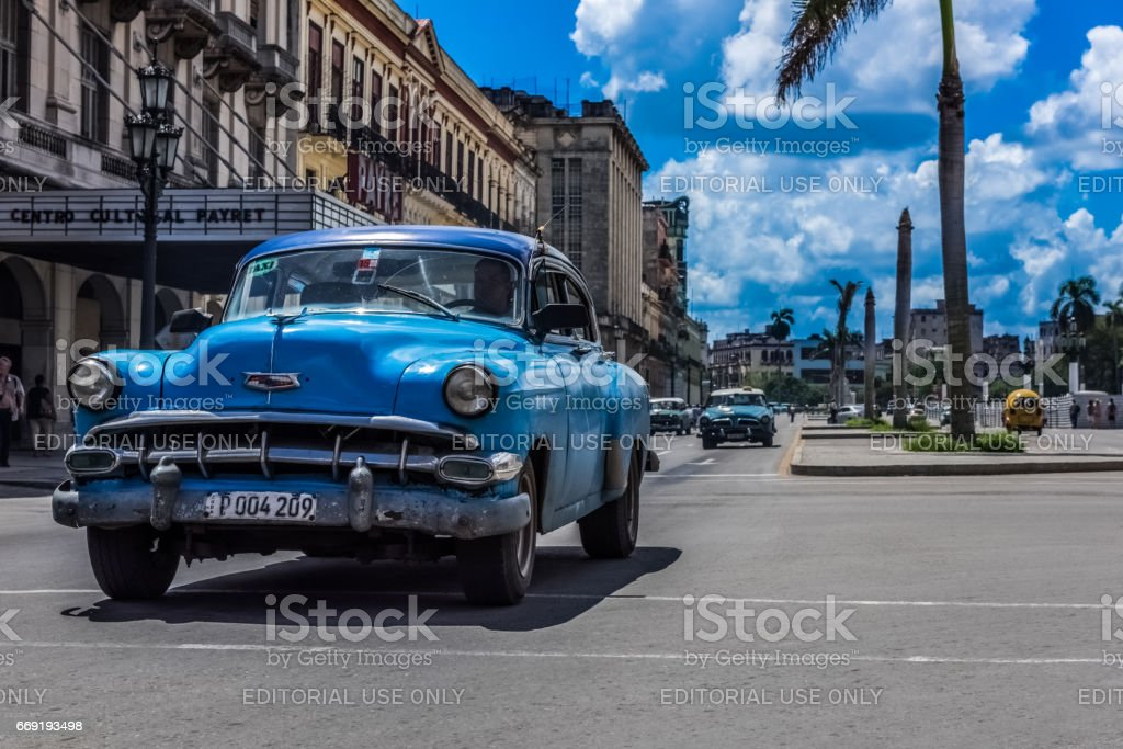 HDR - Street scenery with vintage car on the main street in Havana...