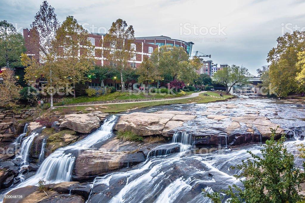 street scenes around falls park in greenville south carolina stock photo