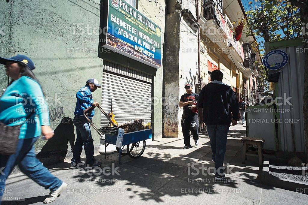 Street Seller in La Paz stock photo
