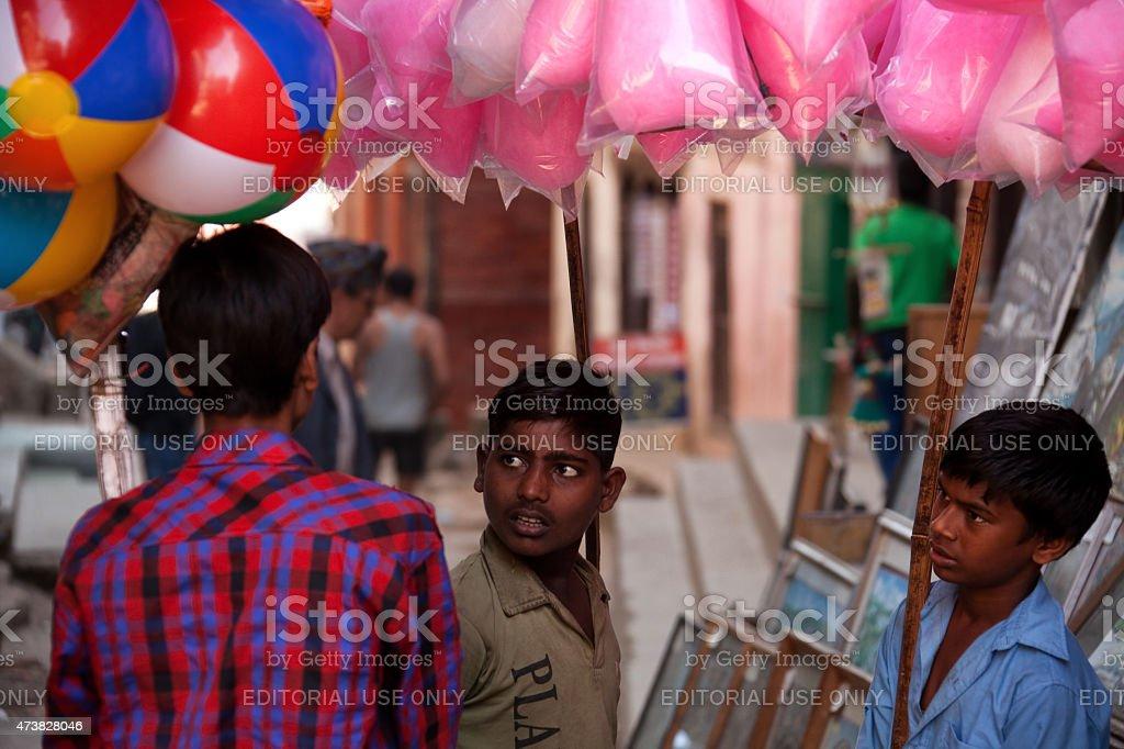Street sellers in Kathmandu, Nepal. stock photo