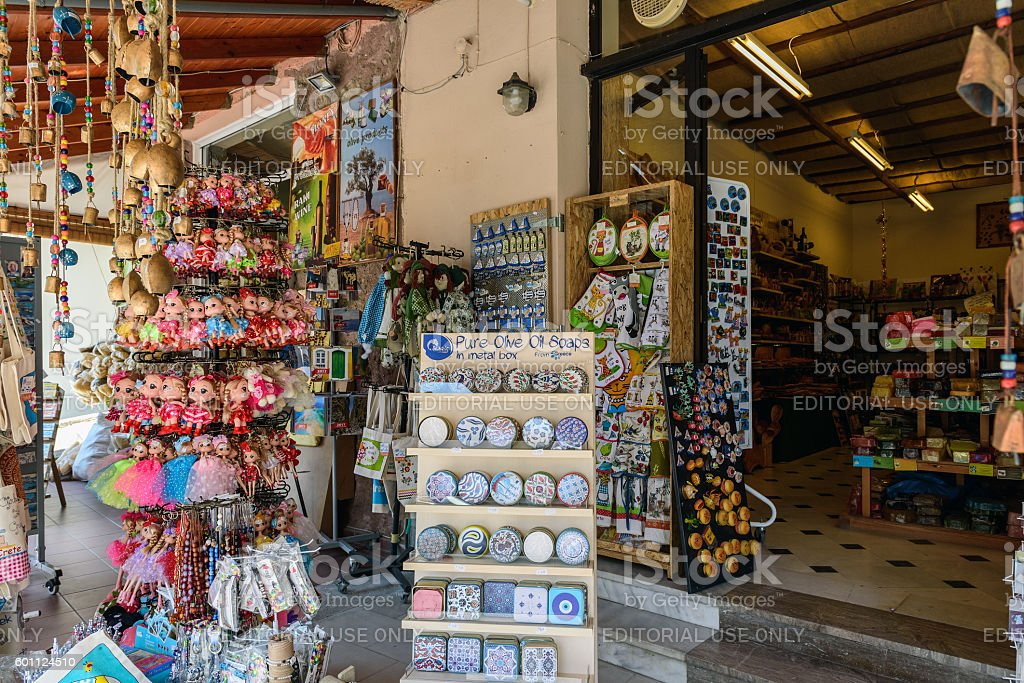 Street shop with traditional Greek souvenirs on Crete island. stock photo