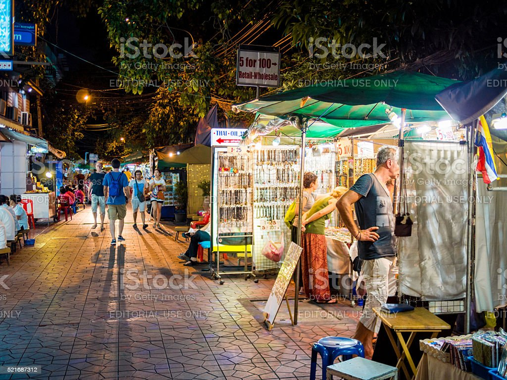 Street shops in Bangkok, Thailand stock photo