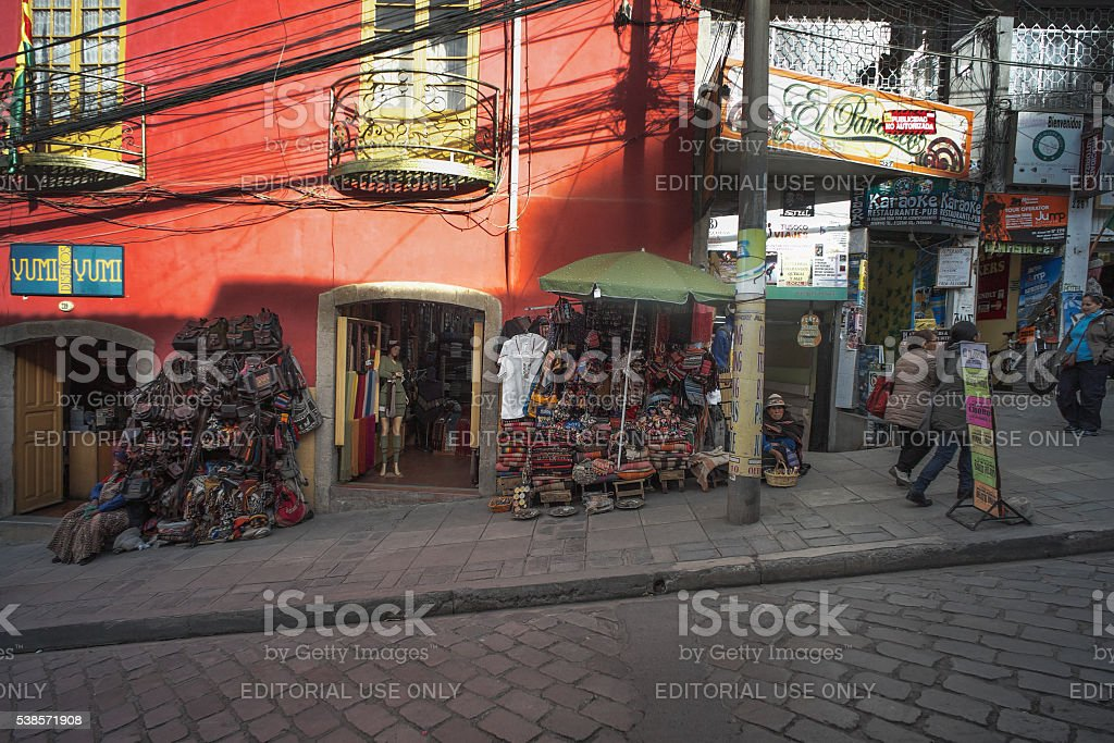 Street Shops in La Paz stock photo
