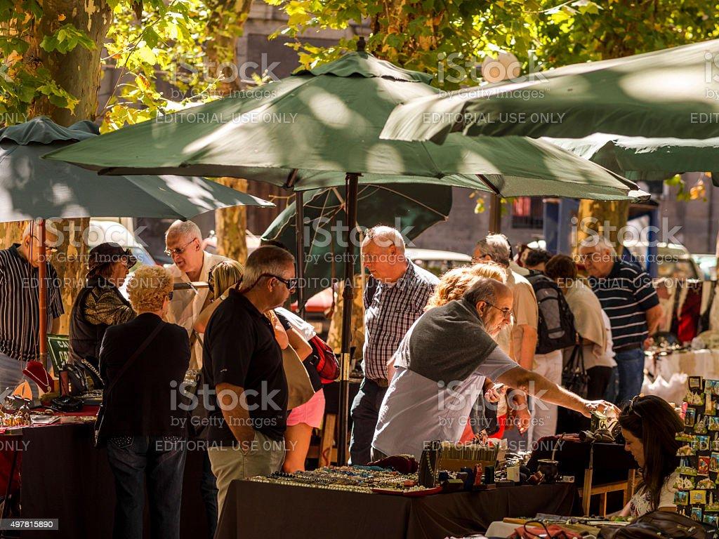 Street shops in Montevideo, Uruguay stock photo