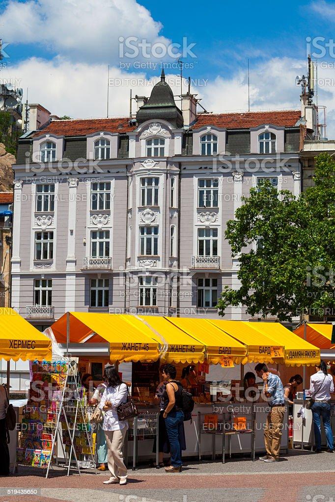 Street shops in Plovdiv, Bulgaria stock photo