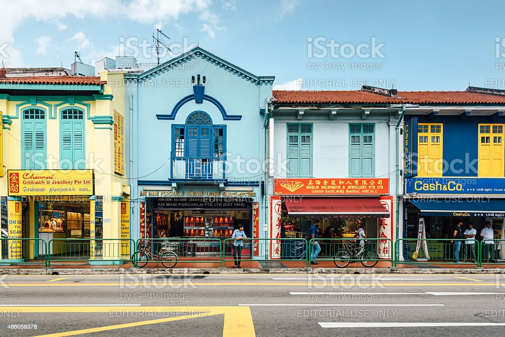 Street shops, Little India in Singapore stock photo