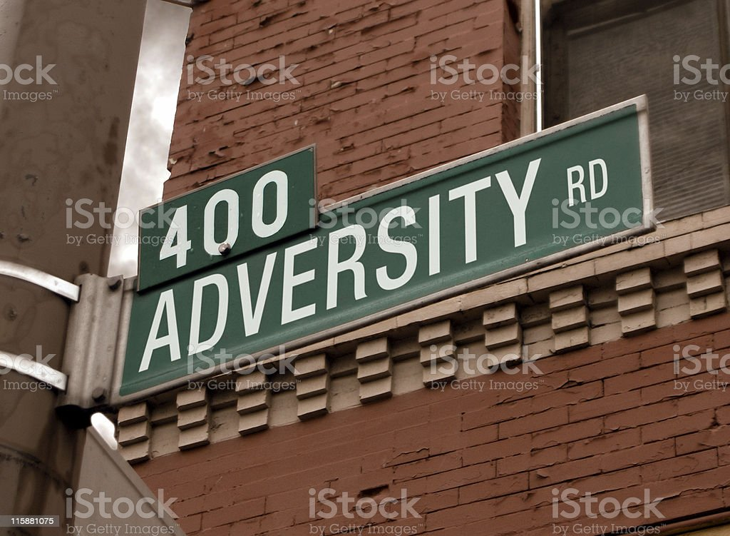 Street Sign: Adversity stock photo