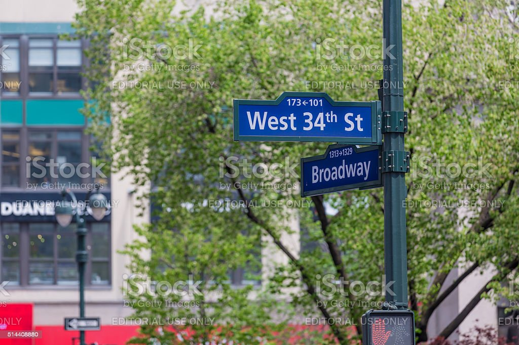 Street sign at intersection of West 34th Street and Broadway stock photo