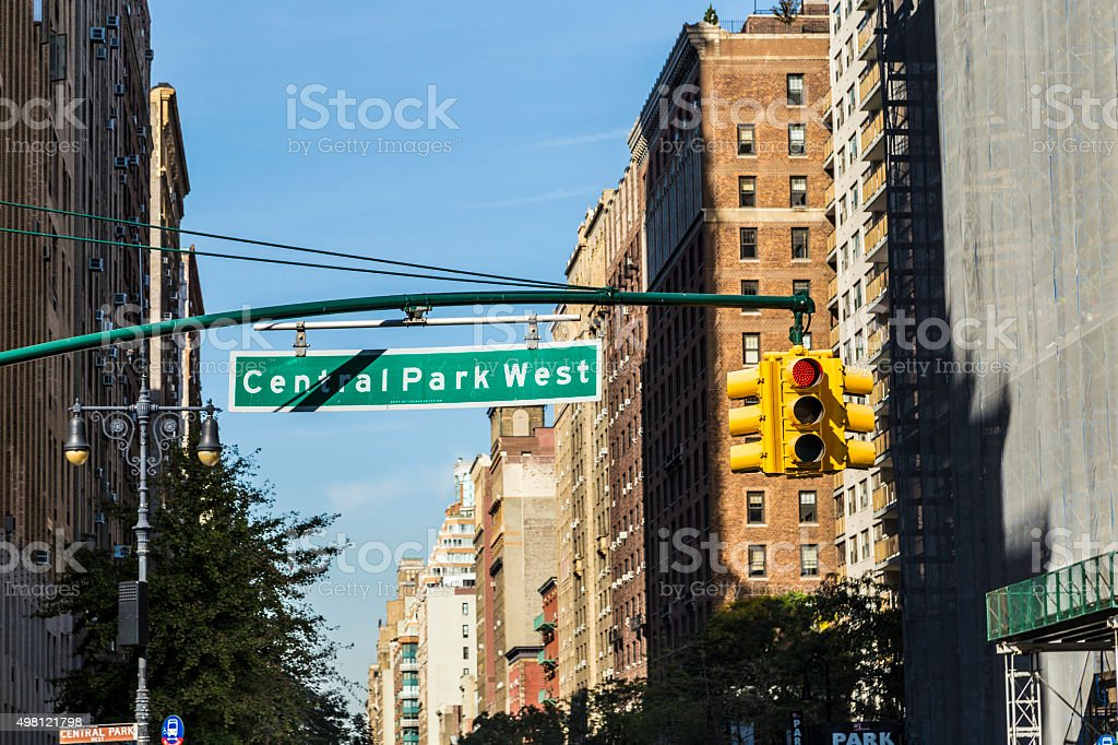 street sign  Central Park West in New York City stock photo