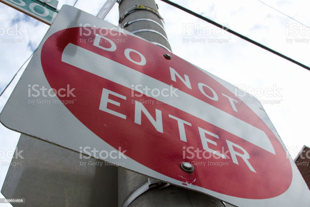 Street Sign. Do Not Enter Sign on Telephone Pole stock photo