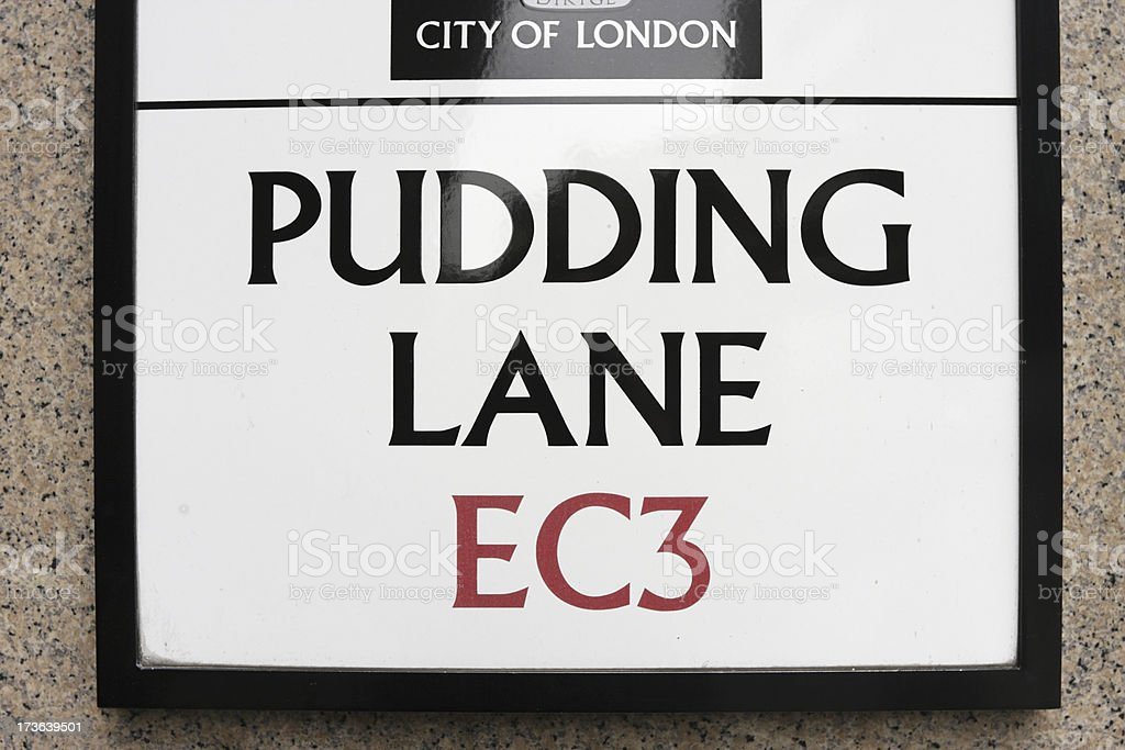 Pudding Lane monument to Great Fire Of London series stock photo