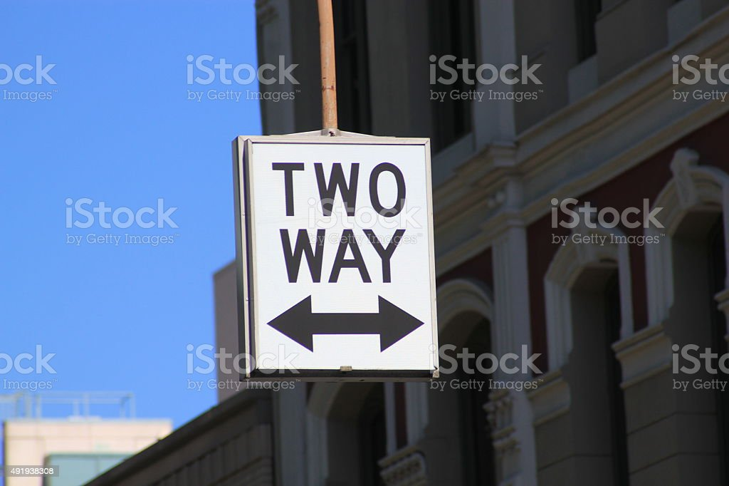 Street sign for Two Way traffic stock photo
