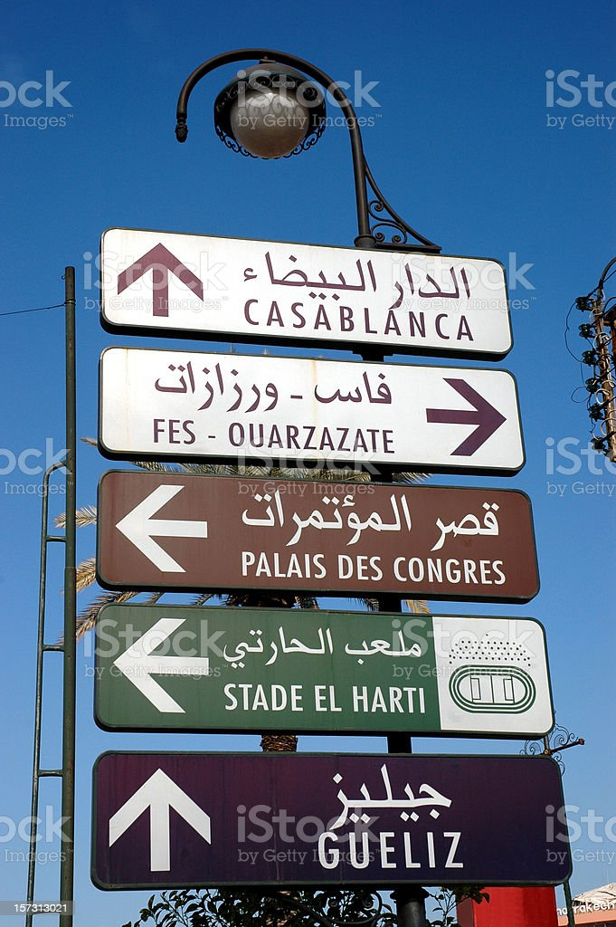 street sign in Marrakech stock photo