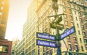 Street sign in New York City - Manhattan downtown district
