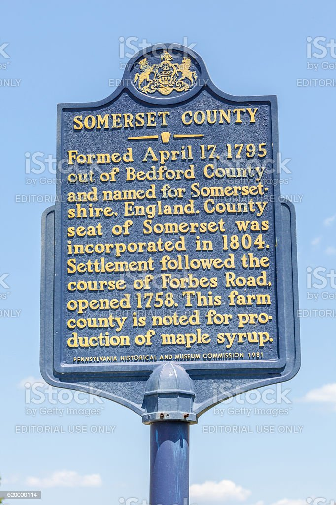 Somerset country Pennsylvania, USA- May 19, 2014. Street sign in stock photo