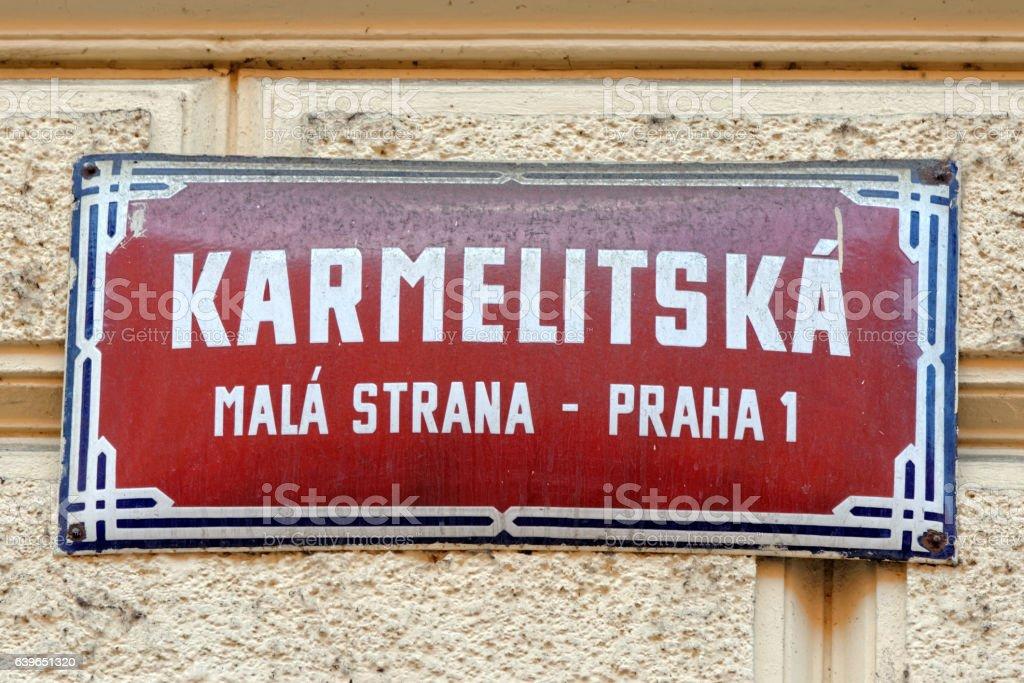 Street sign in Prague, Czech Republic. stock photo
