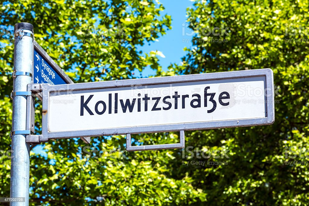 Street sign 'Kollwitzstra?e' stock photo