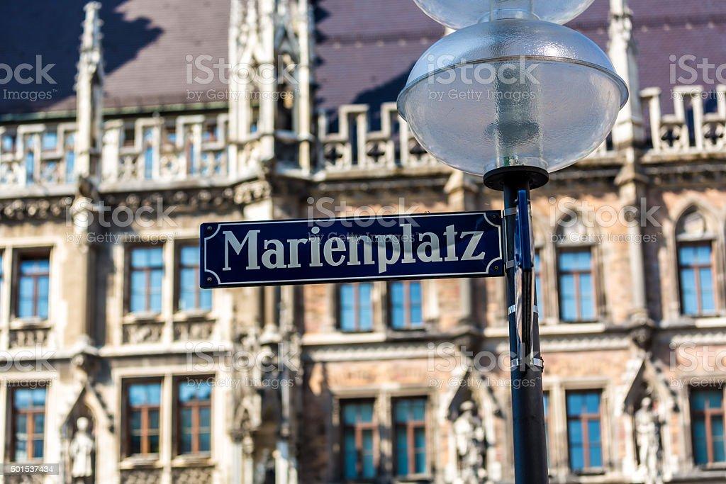 Street Sign Marienplatz in Munich stock photo