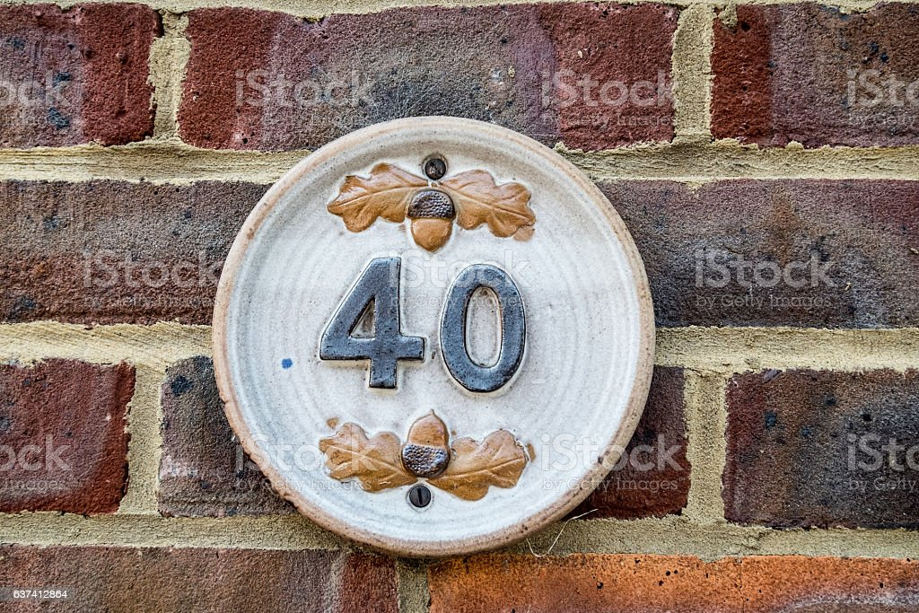 street sign number 40 stock photo