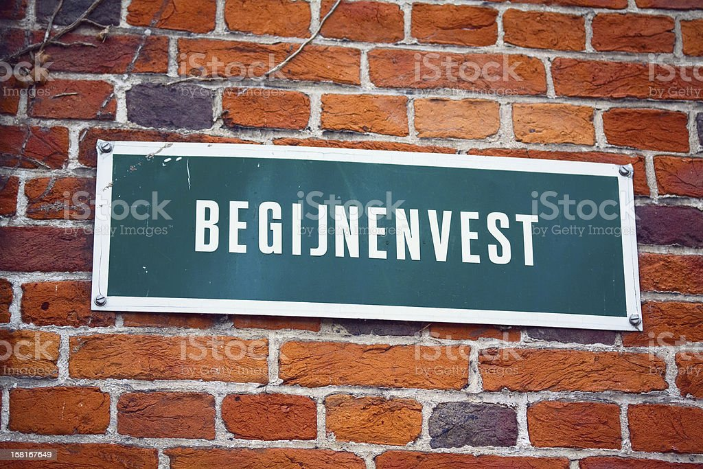 Street sign of Beguines district Bruge stock photo