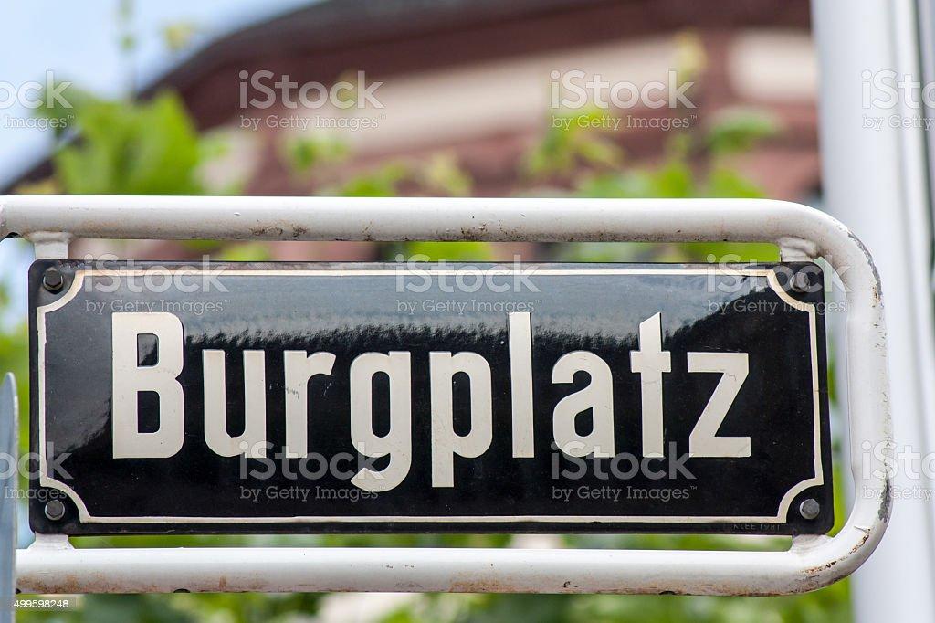 Street sign of Burgplatz in Dusseldorf Germany stock photo