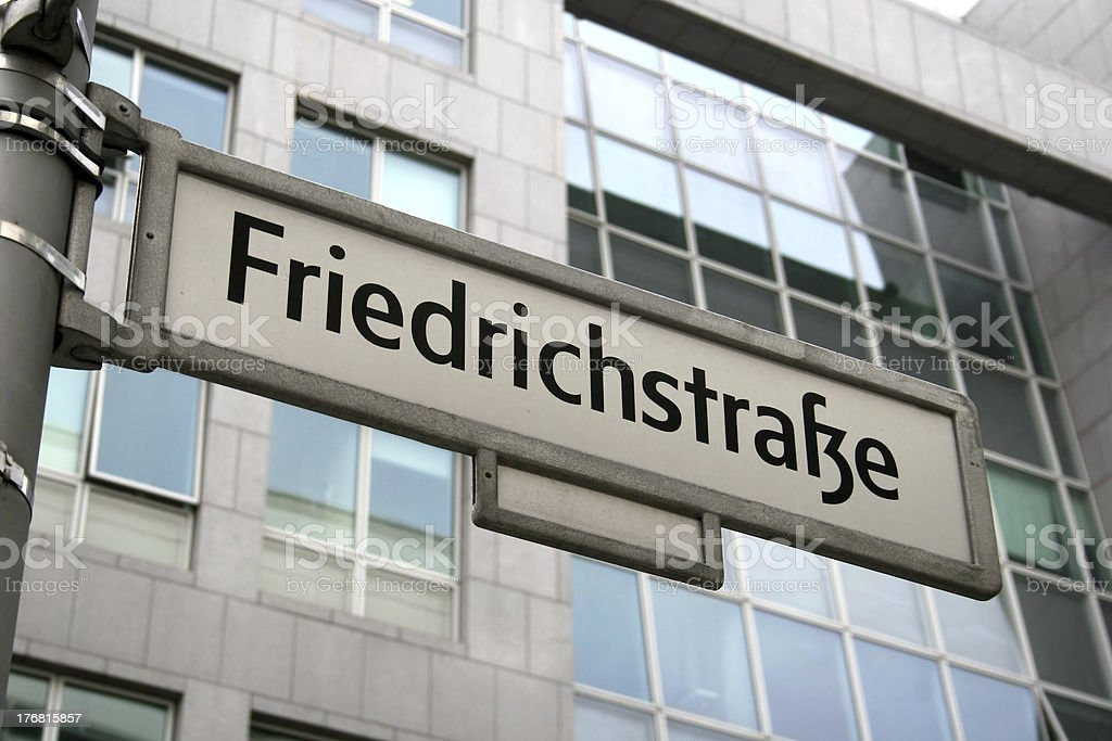 Street sign of Friedrichstraße in Berlin stock photo