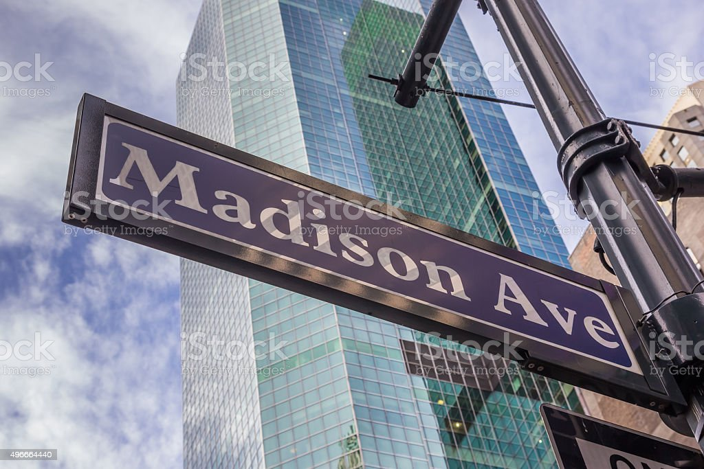 Street sign of Madison avenue in New York City stock photo