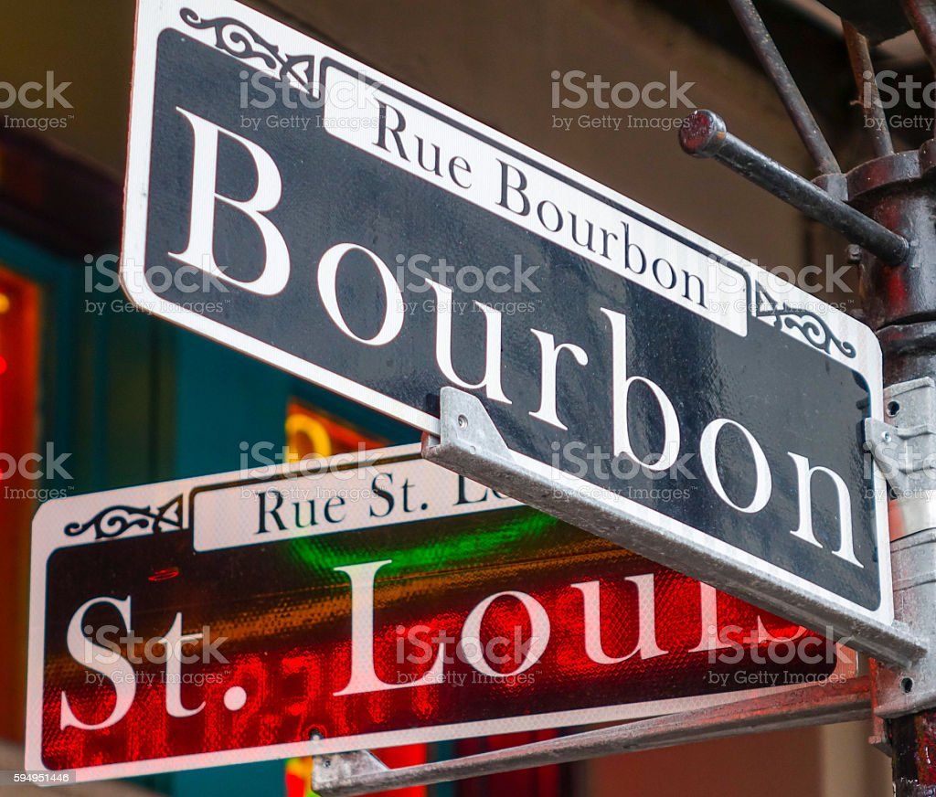Street sign of New Orleans most famous  Bourbon  at French Lizenzfreies stock-foto