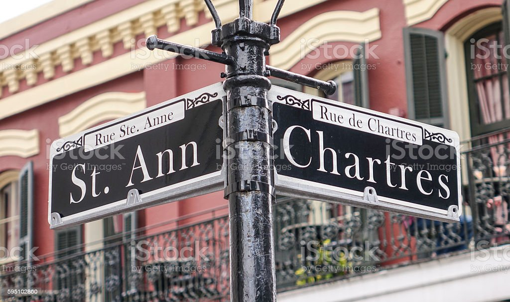 Street sign of New Orleans most famous streets at French Lizenzfreies stock-foto
