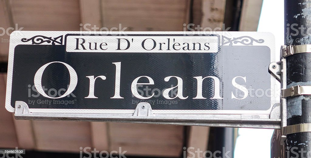 Street sign of Orleans  at French Quarter Lizenzfreies stock-foto