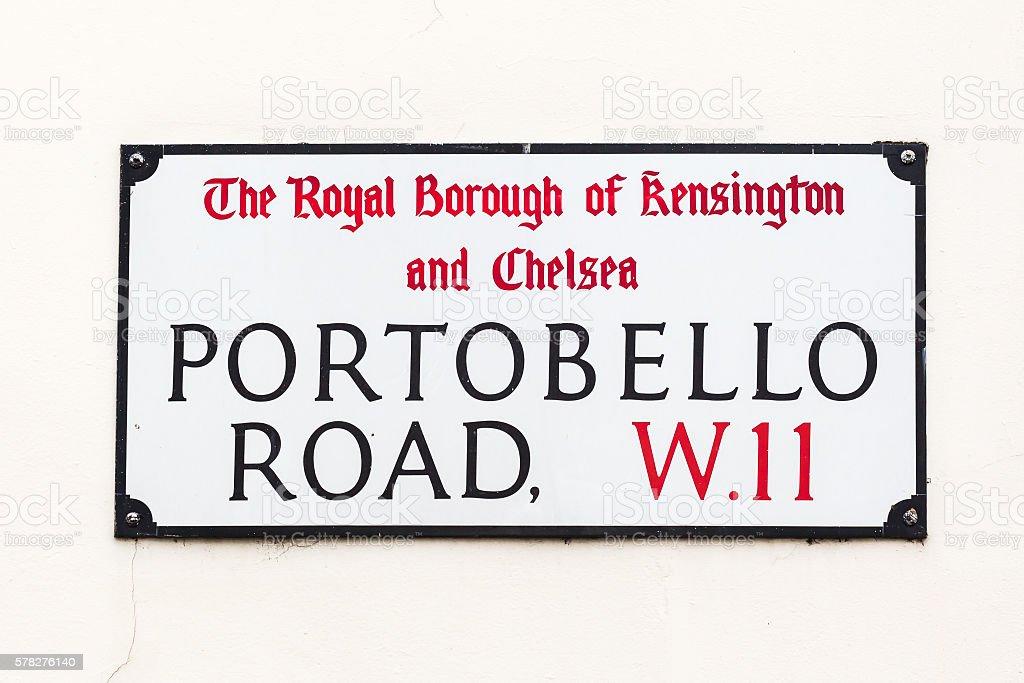 street sign of Portobello Road in London, UK stock photo