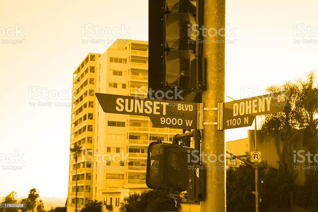 Street sign of Sunset Blvd. royalty-free stock photo