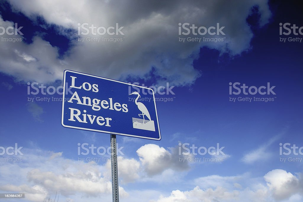 Street sign of the Los Angeles river. stock photo