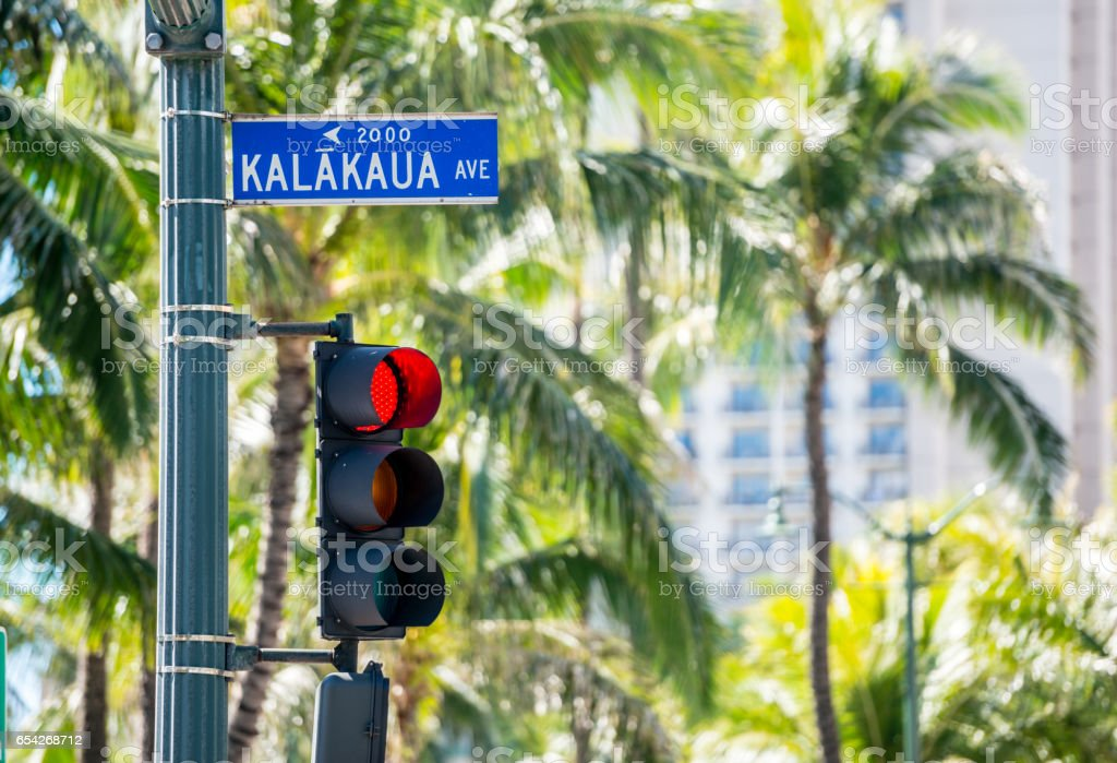 Street Sign On Kalakaua Avenue Honolulu Hawaii USA Royalty Free Stock Photo