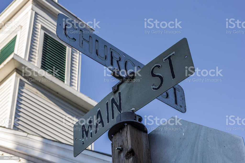 Street sign on main street in Sutter Creek stock photo