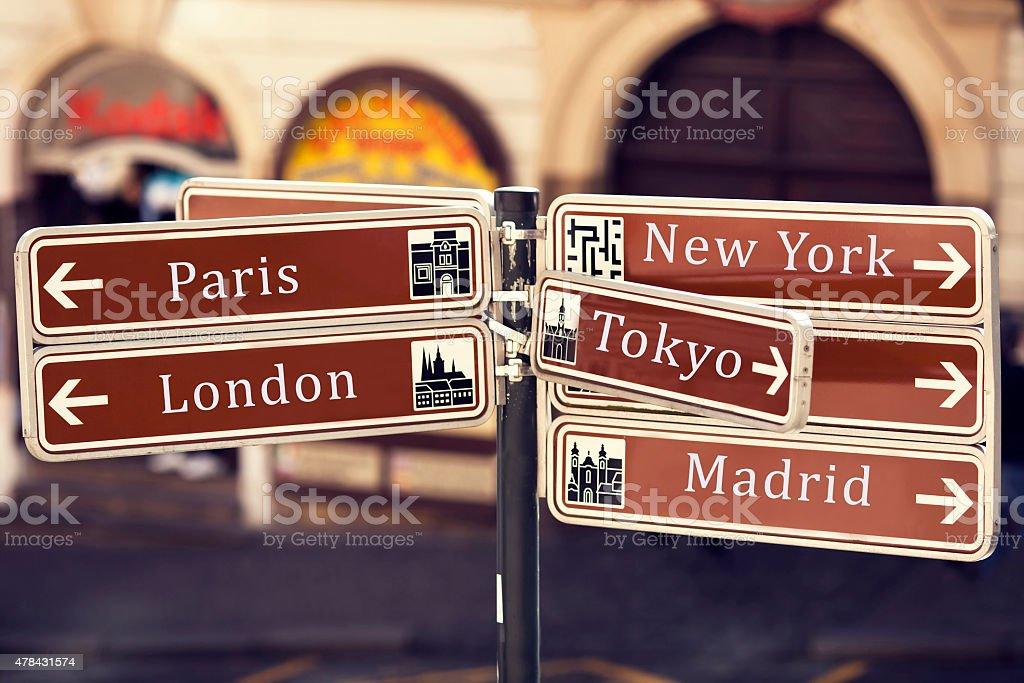 street sign showing popular travel destinationsreet background royalty-free stock photo