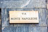 Street sign Via Monte Napoleone