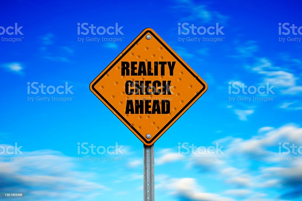 Street sign warning of reality check ahead stock photo