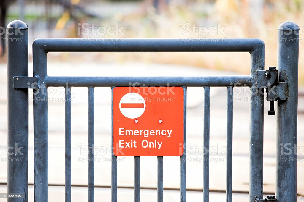 Street Signs – Emergency Exit Only Sign stock photo