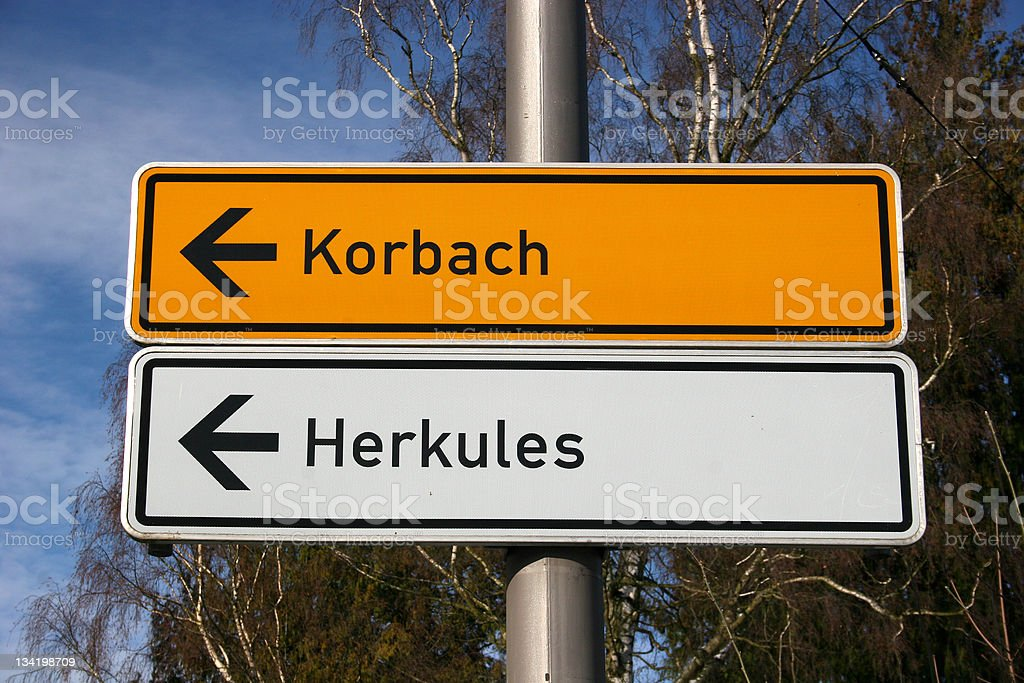 Street signs in Kassel, direction Korbach royalty-free stock photo