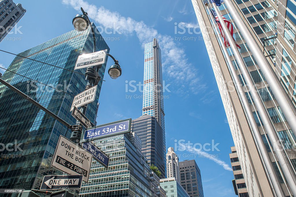 Street signs in Manhattan stock photo