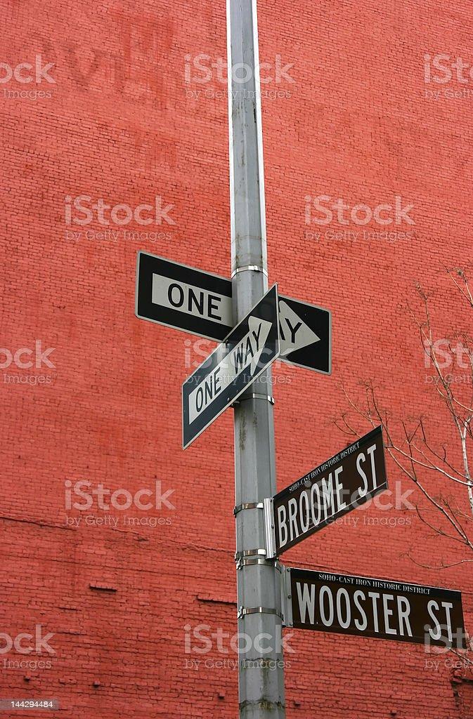 Street signs in Soho stock photo
