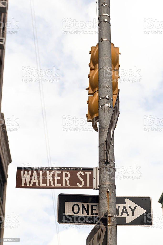 Street signs in SOHO streets, New York City, USA royalty-free stock photo