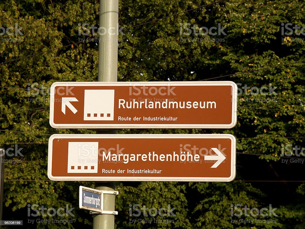 Street signs in the german city Essen stock photo