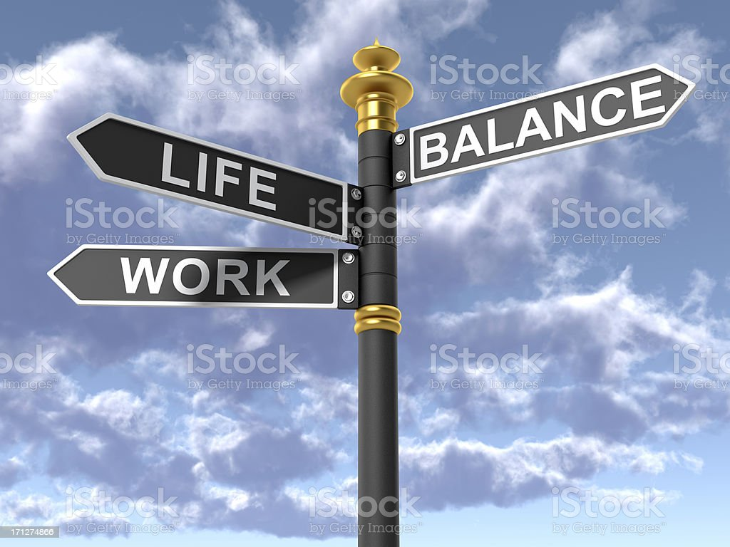 Street signs signifying a work life balance stock photo