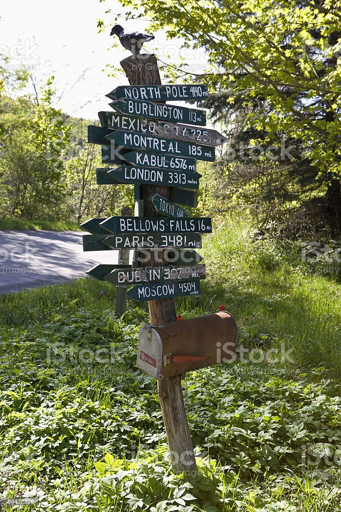 Street signs to exotic locales on small road royalty-free stock photo