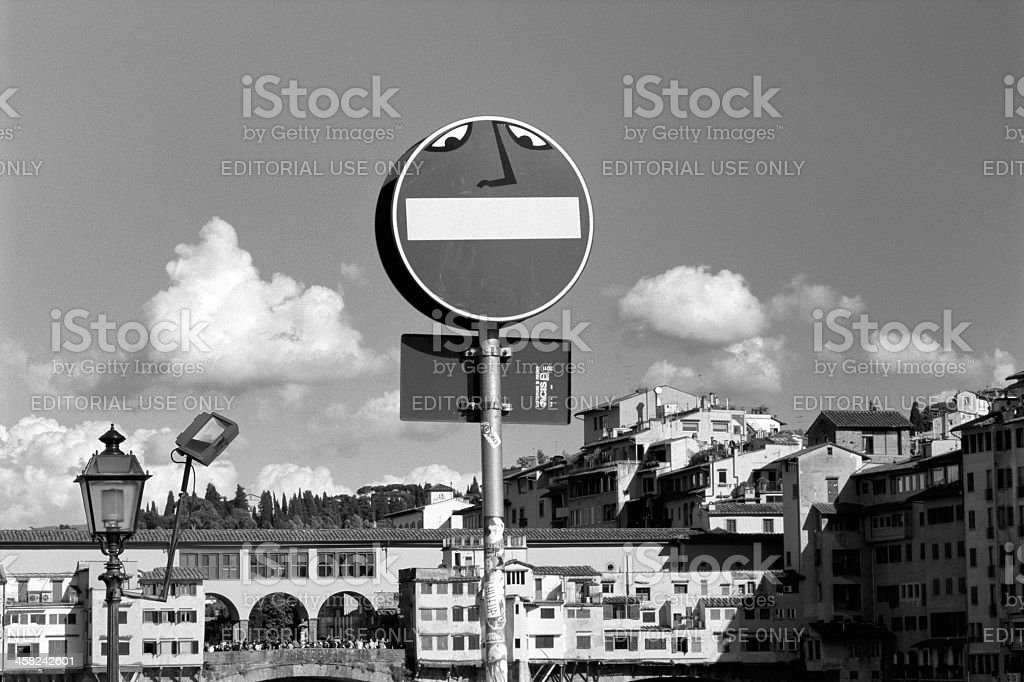 Street signs with graffiti as urban decor royalty-free stock photo