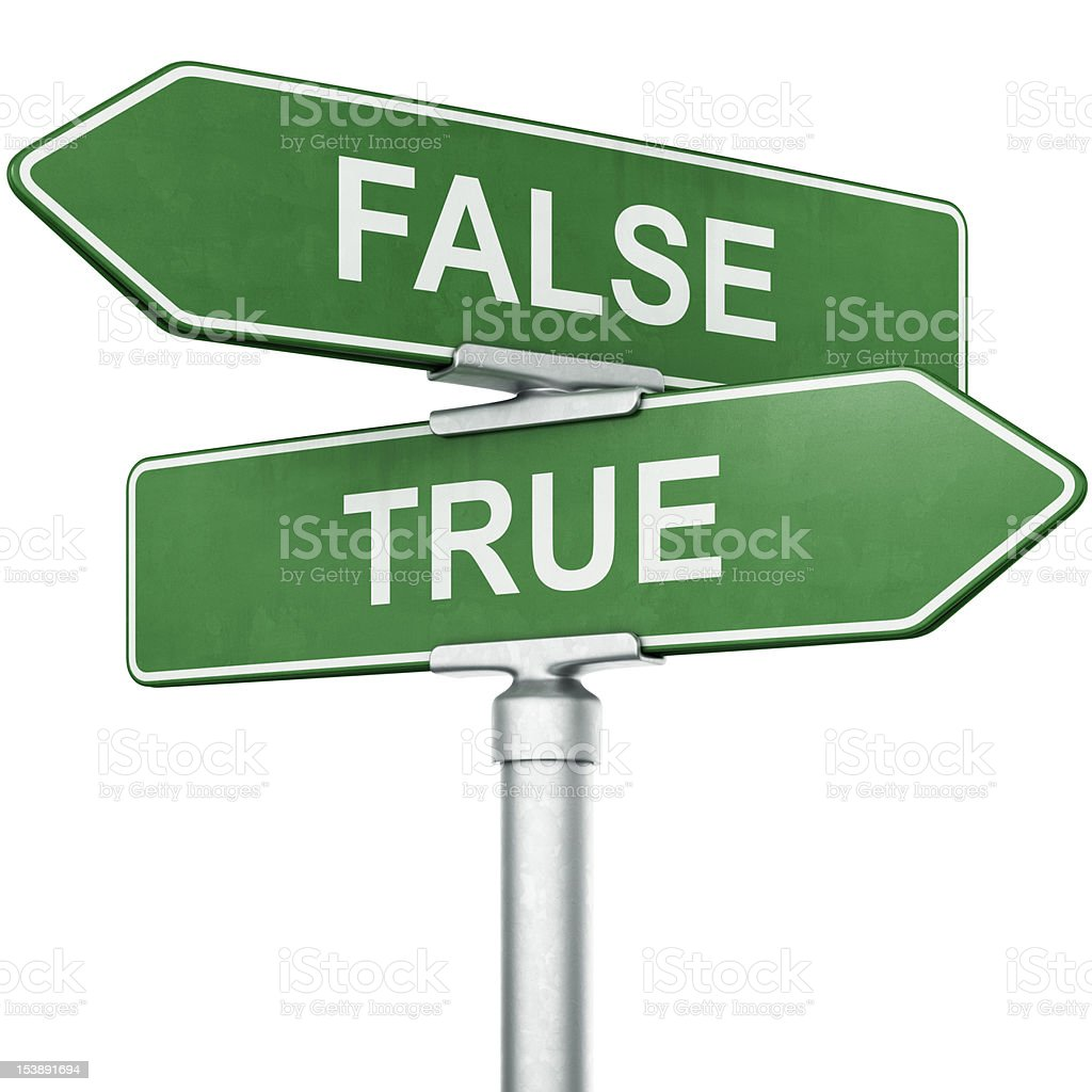 Street signs with true and false words as directions stock photo